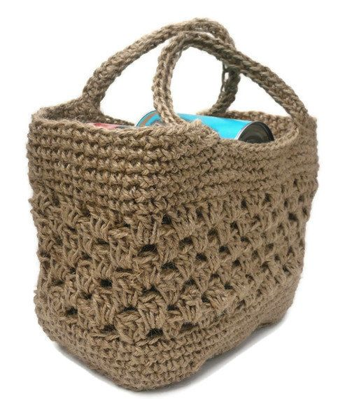Crochet Tote Bag : Tote Shopping Bag. Strong Crocheted Jute. Made in England. FREE P&P to ...