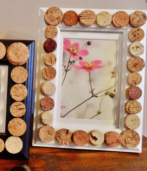 White Wine Cork Picture Frame by ScatteredTreasures on Etsy, $18.00
