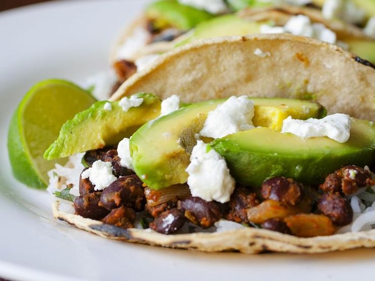 Achiot Black Bean Tacos with Grilled Avocado and Goat Cheese