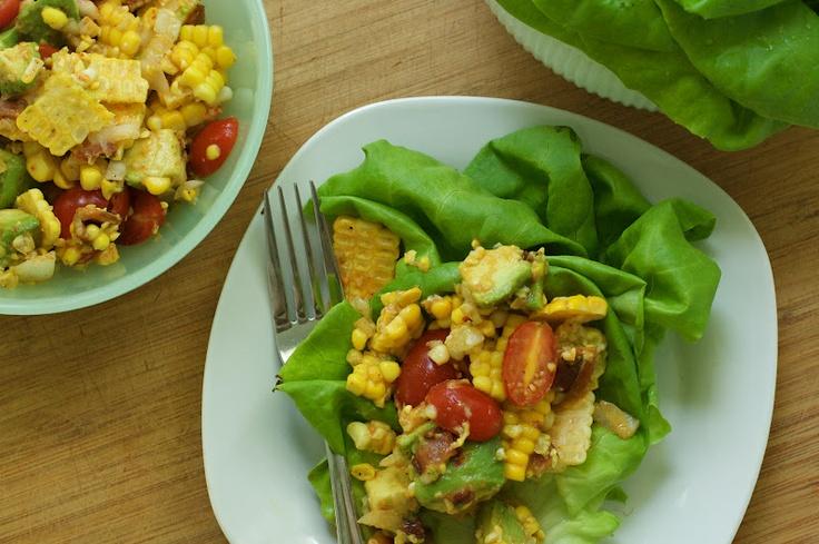 Joy's BLT Corn Salad Wraps : Oven Love | Wraps | Pinterest