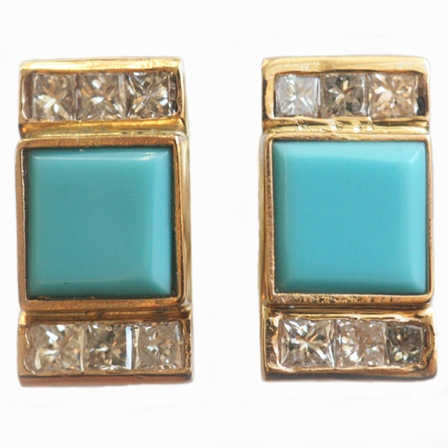 Sqaure Turquoise and Diamond Studs
