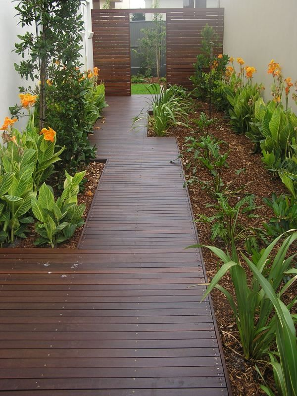 Decking walkway garden pinterest for Timber decking garden designs