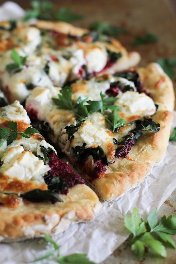#Recipe: Beet Pesto Pizza with Kale and Goat Cheese