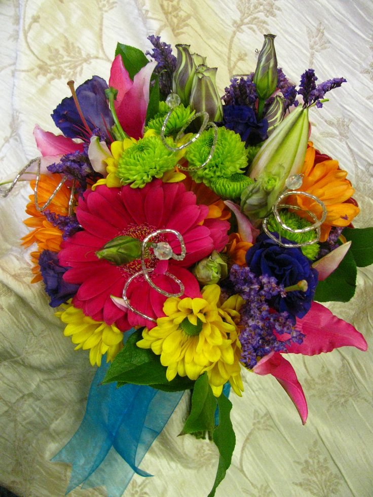 Bright colored bridal bouquet wedding flowers pinterest for Bright wedding bouquet
