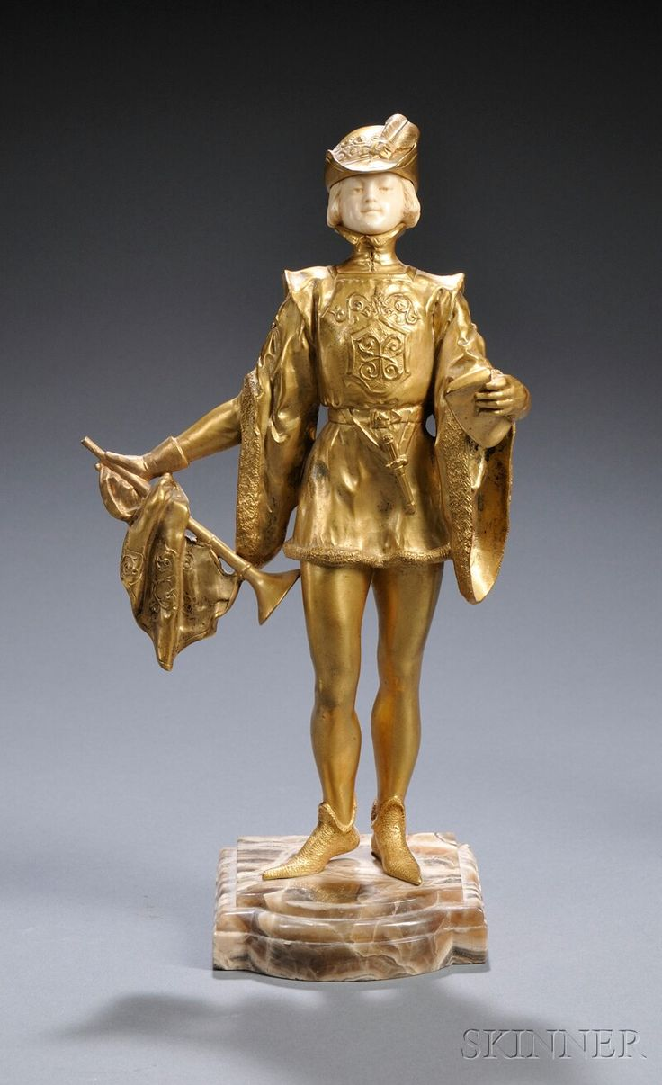 After Rene-Paul Marquet (French, 1875-1939) Gilt-bronze and Ivory Figure of a Page
