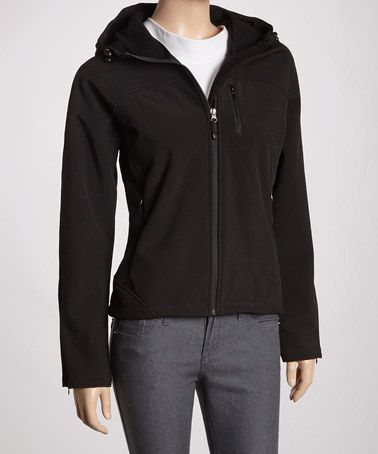 Take a look at this Black Hooded Soft Shell Jacket - Women by Kristen
