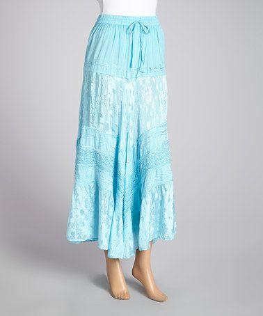 Zulilyfind baby blue embroidered peasant maxi skirt zulilyfinds