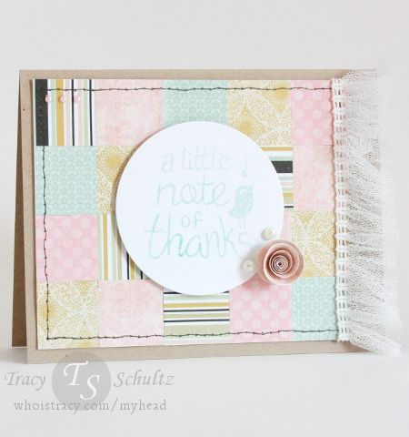 A shabby little card using supplies from IHP: Lawn Fawn stamps, MME & Webster's paper, MB die, nesties, ribbon, and more!