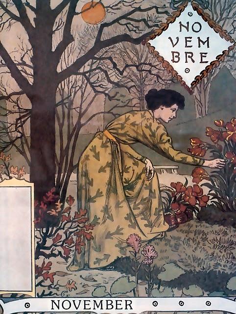 "November,  Eugène GRASSET Calendrier ""La Belle Jardinière"" 1896"