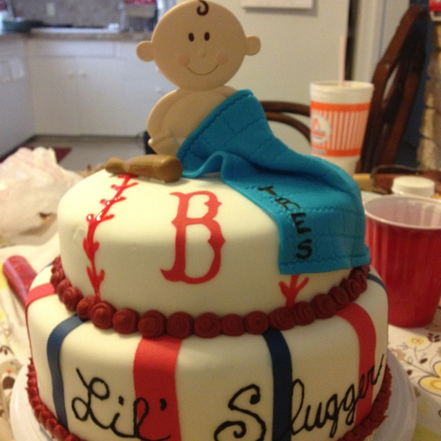 Red sox baby shower cake