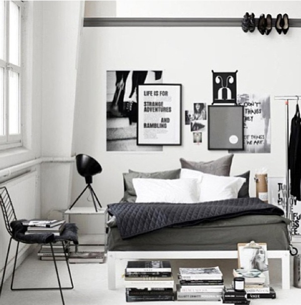 Monochrome Small Space Bedroom Office Boys Bedroom