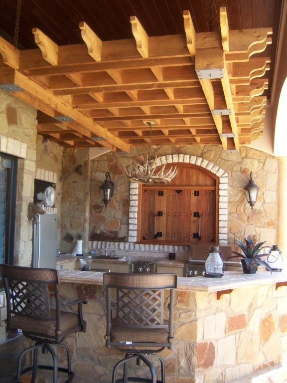 Outdoor bar for the home pinterest for Outdoor kitchen wall ideas