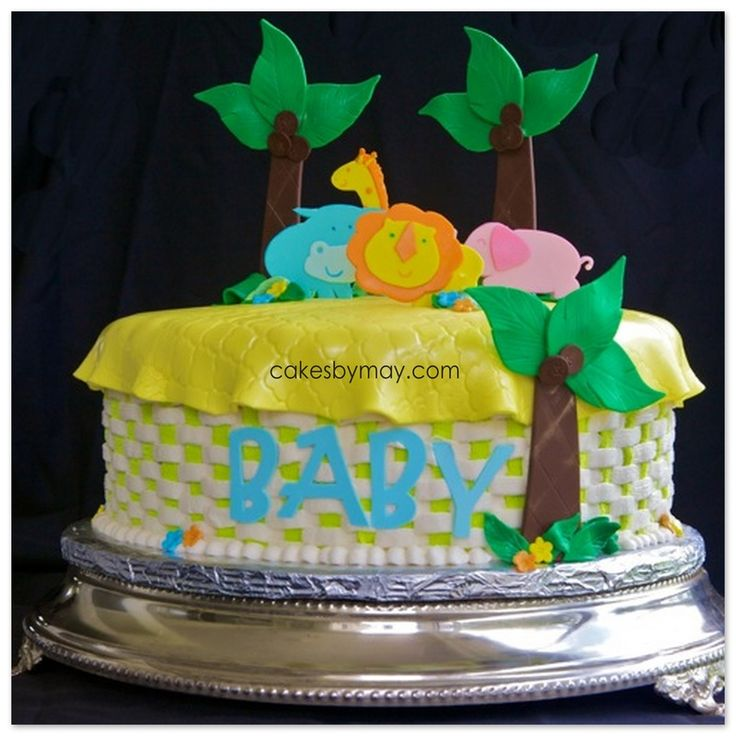 zoo animals baby shower cakes