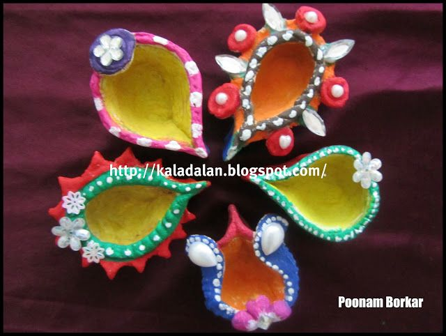 Diwali diya salt dough diyas diwali crafts for children for Art and craft for diwali decoration