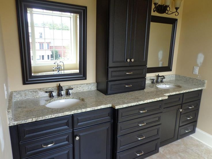 Dark cabinets with light granite for the home pinterest for Bathroom designs dark cabinets