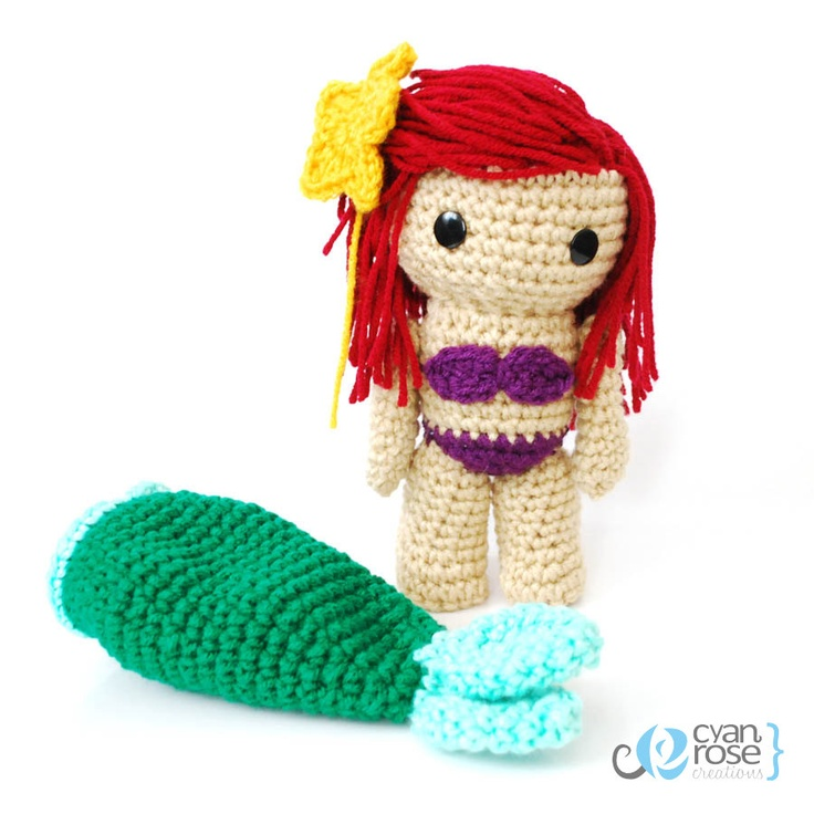 Free Knitting Pattern Mermaid Doll : Ariel, from The Little Mermaid - Crochet Amigurumi Doll - MADE TO ORDER