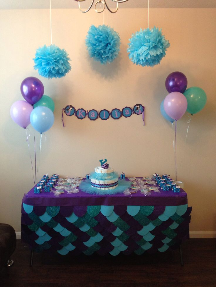 mermaid theme baby shower god child my little coconut