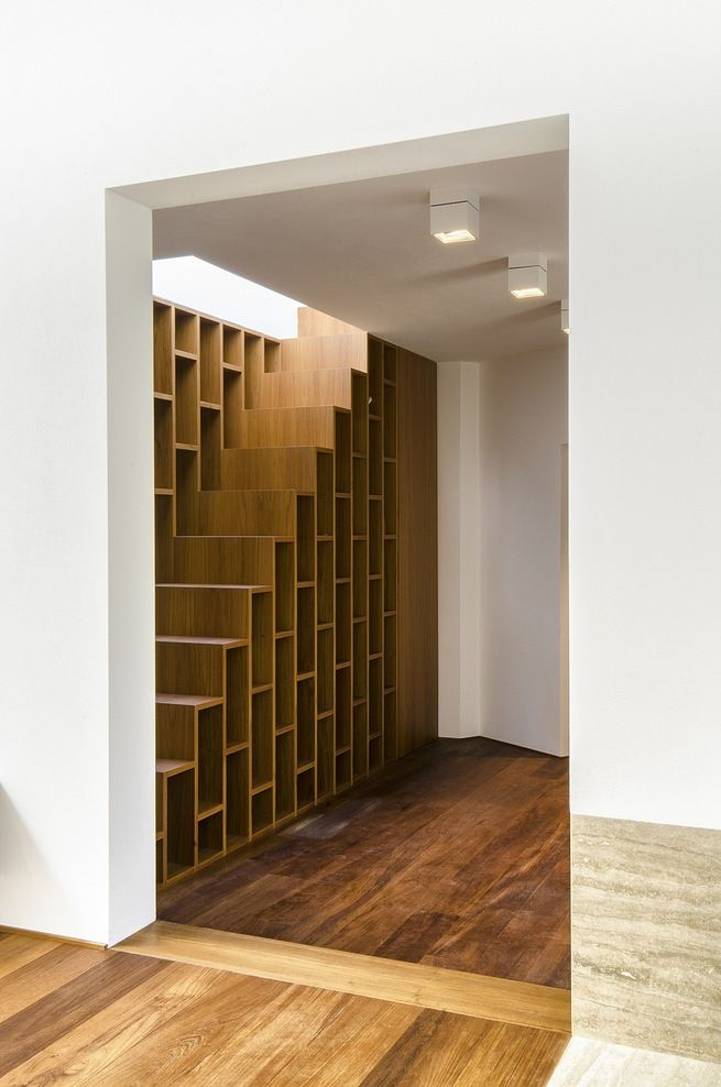 staircase bookcase dwell pinterest