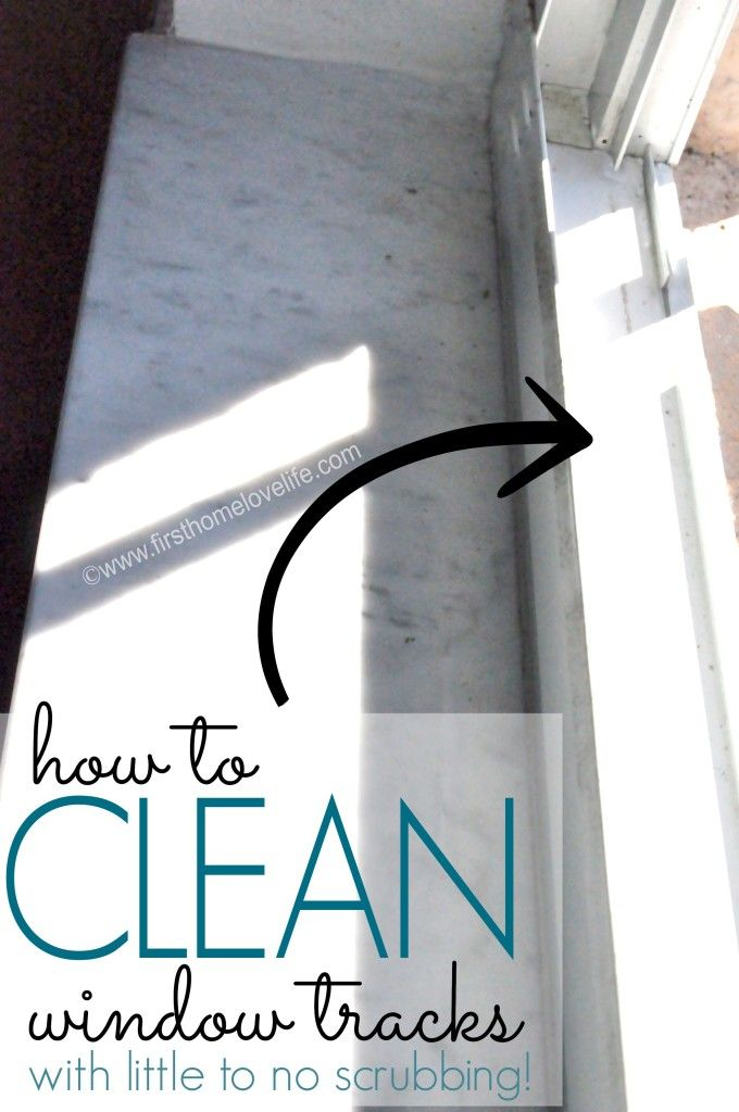 How to: Clean Window Tracks using vinegar and baking soda with warm water.
