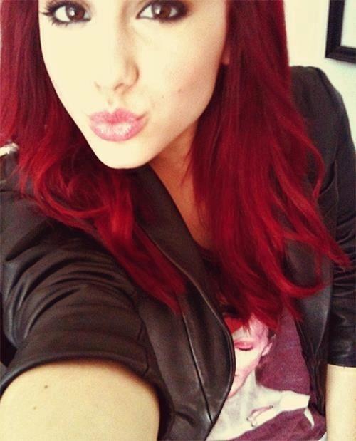 Ariana grande dark red hair