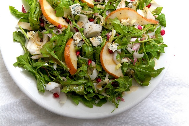 Fall Salad- arugula, endive, pear, pomegranate, blue cheese with maple ...