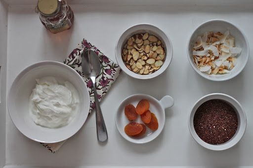 Yogurt with Toasted Quinoa, Almonds & Apricots