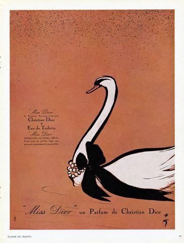Christian Dior (Perfumes) 1950 Parfum Miss Dior, Swan, René Gruau (Swan, white frame)