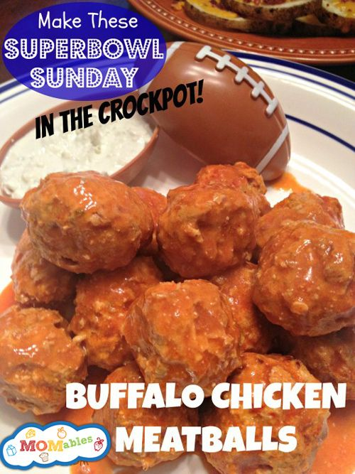 MOMables.com Buffalo Chicken #Crockpot Meatballs #Recipe #Superbowl Sunday Food