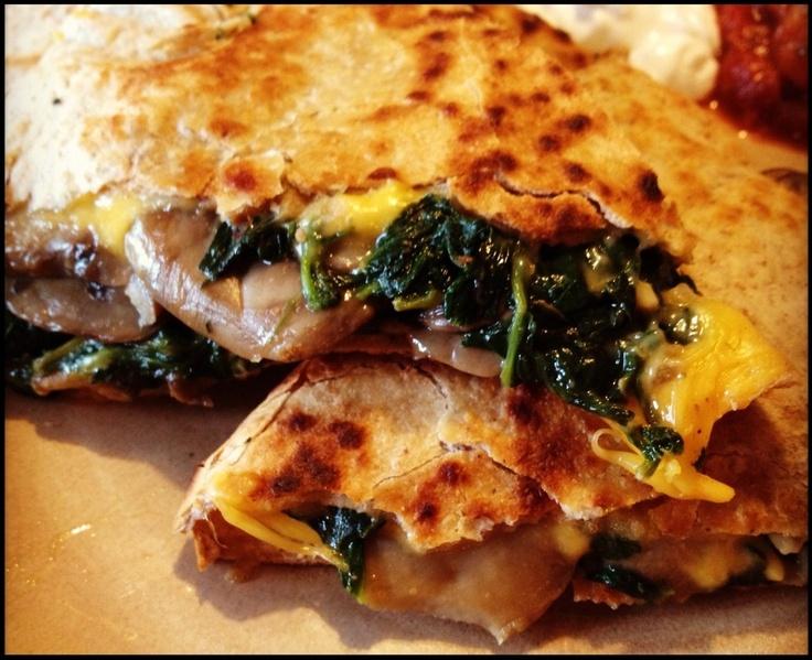 Spinach and Mushroom Quesadilla | recipes | Pinterest