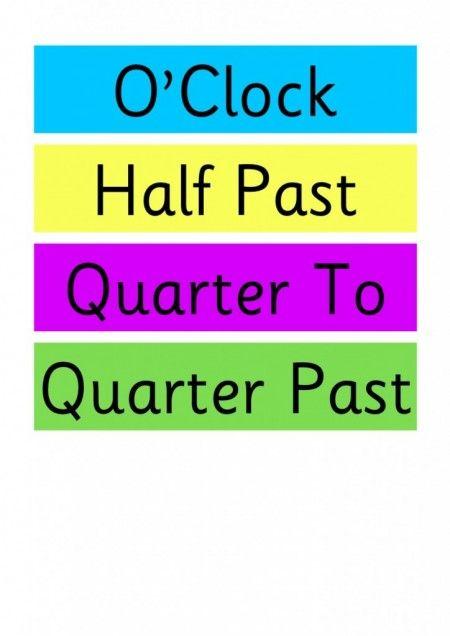 Clock Labels for the Classroom O'Clock, Half Past, Quarter To ...