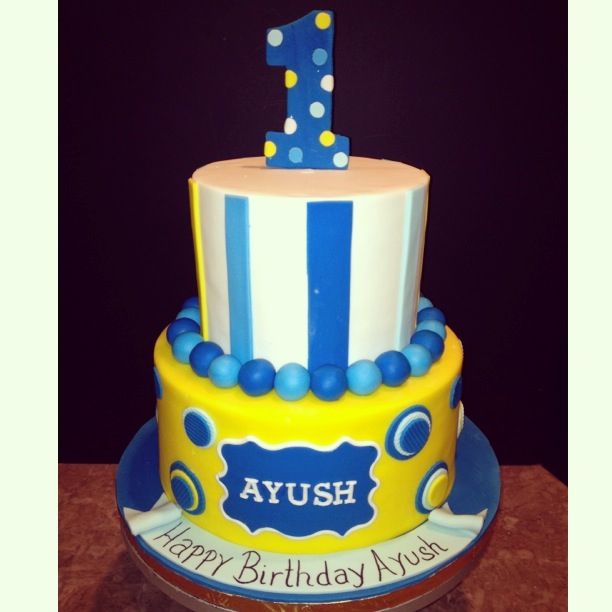 Yellow & Blue 1st Birthday Cake | Cakes | Pinterest