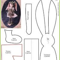 Muchos patrones de conejos de trapo y peluche