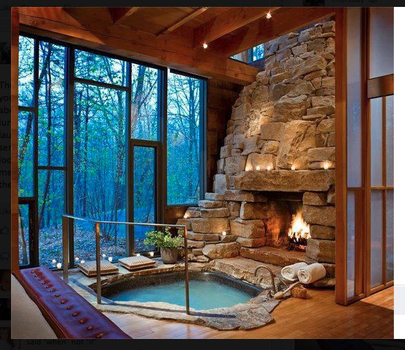 indoor hot tub fireplace la maison bleu pinterest. Black Bedroom Furniture Sets. Home Design Ideas