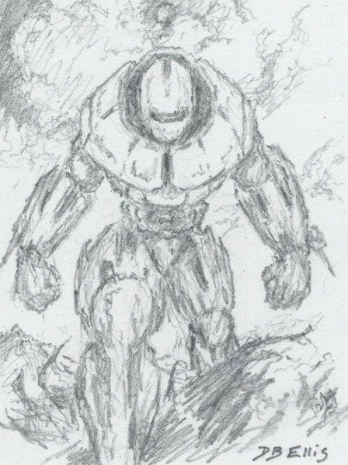 BUTLERIAN JIHAD (WAR MACHINE NO. 2)  original sci fi art, ACEO, Dune series