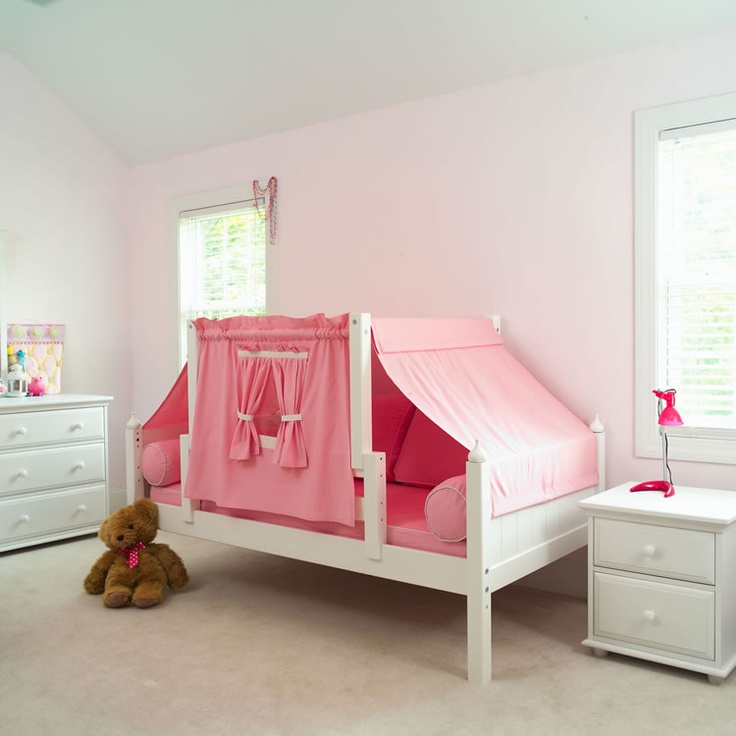 YO 23 Playhouse Bed w/ Toddler Safety Rail by Maxtrix Kids (Pink and White) (50)