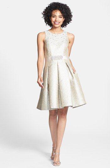200 Nordstrom Eliza J Embellished Metallic Jacquard Fit  Flare Dress ...