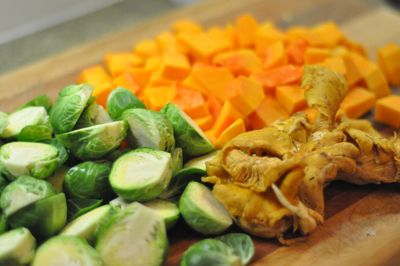 Butternut Squash Salad with Chanterelles and Brussel Sprouts and Bacon ...