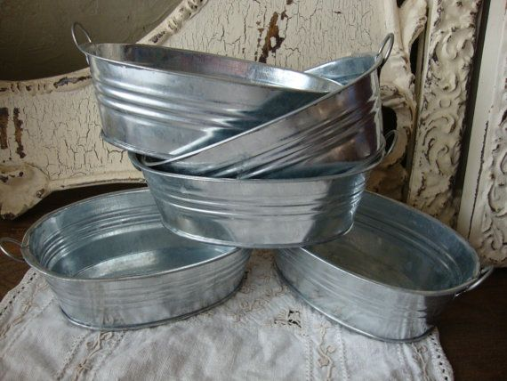 Galvanized metal buckets small planters oval industrial for Metal bucket planter