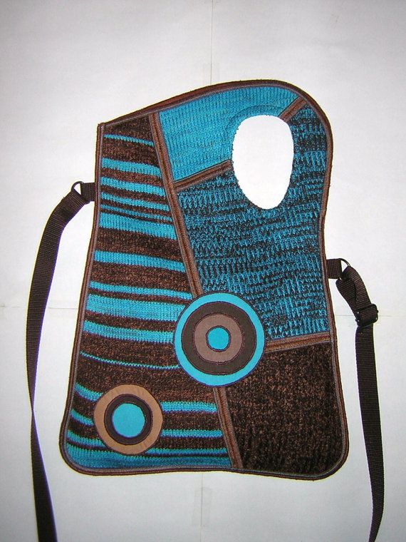 MEDIUM KNITTED BAG mixed knit Brown-Turquoise with Circles  It will be easy with crochet,