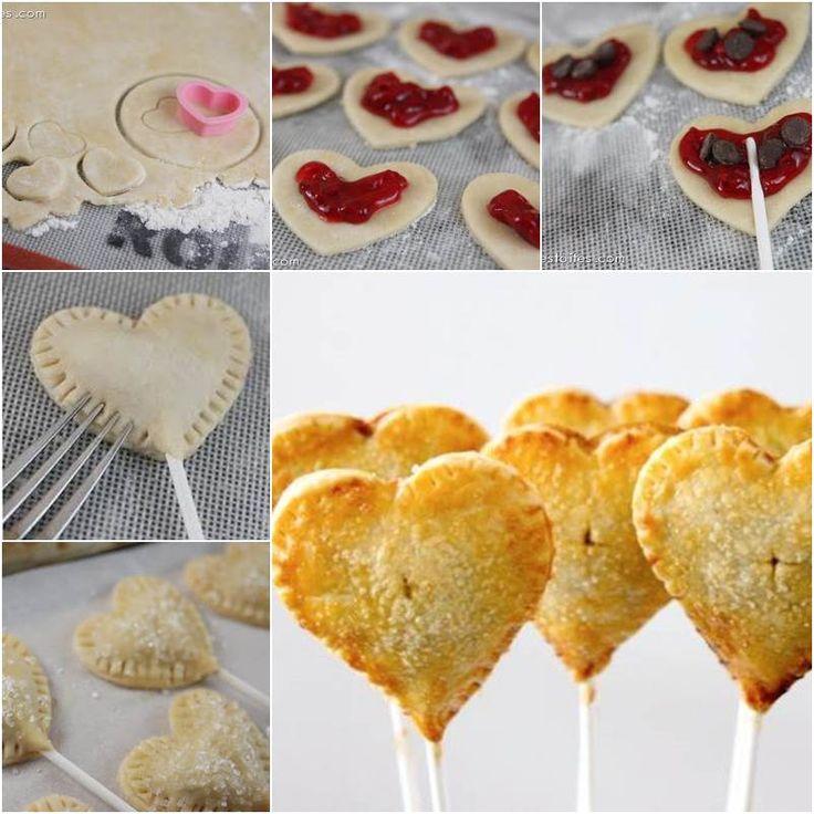 How to DIY Heart Shaped Sweet Pie Pops | pan y pastel | Pinterest