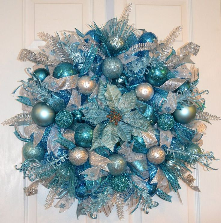 Teal Blue Silver Christmas Winter Holiday Deco Mesh Door