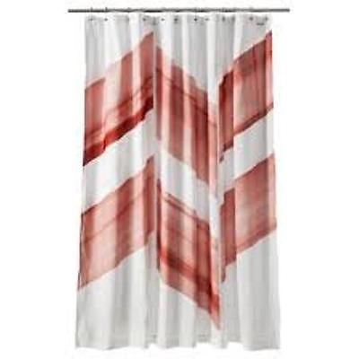 nate berkus color block fabric shower curtain chevron coral new