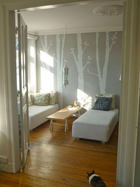 lampe wohnzimmer altbau:Birch Tree Wall Stencil