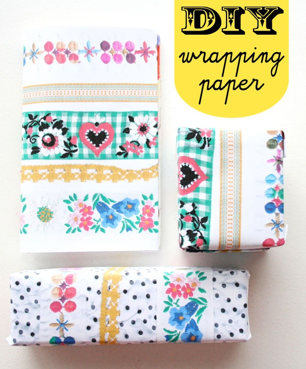 DIY wrapping paper: scanned ribbons