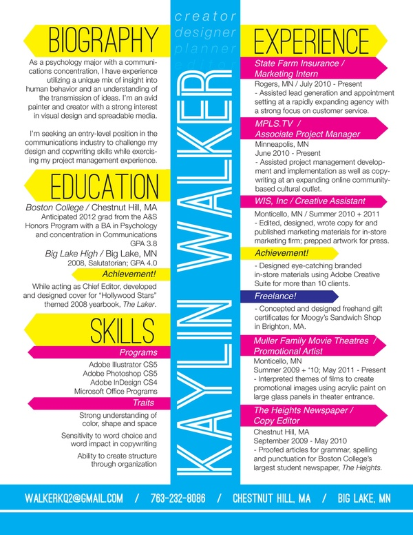 Kaylin Walker Amazing Resume   Graphic Guru   Pinterest
