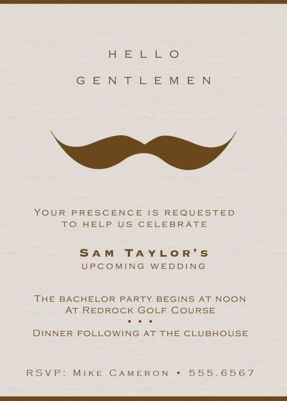 Gentlemans Moustache Bachelor Party Invitations