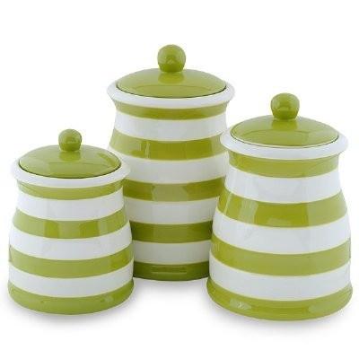 Kitchen on Green   White Stripe Ceramic Kitchen Canister Set   Kitchen