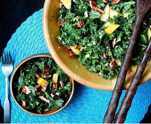 Pineapple, Mango Kale Salad with Pecans & Coconut-Lime Dressing via ...