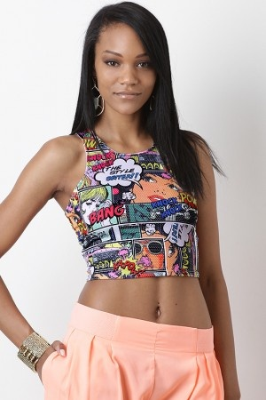 Show off your trendy style with the Comic Pow Crop Top. This sleeveless crop top features smooth stretch knit with comic print throughout, scoop neckline, thick shoulder straps, racerback, and finished with stitching detail.