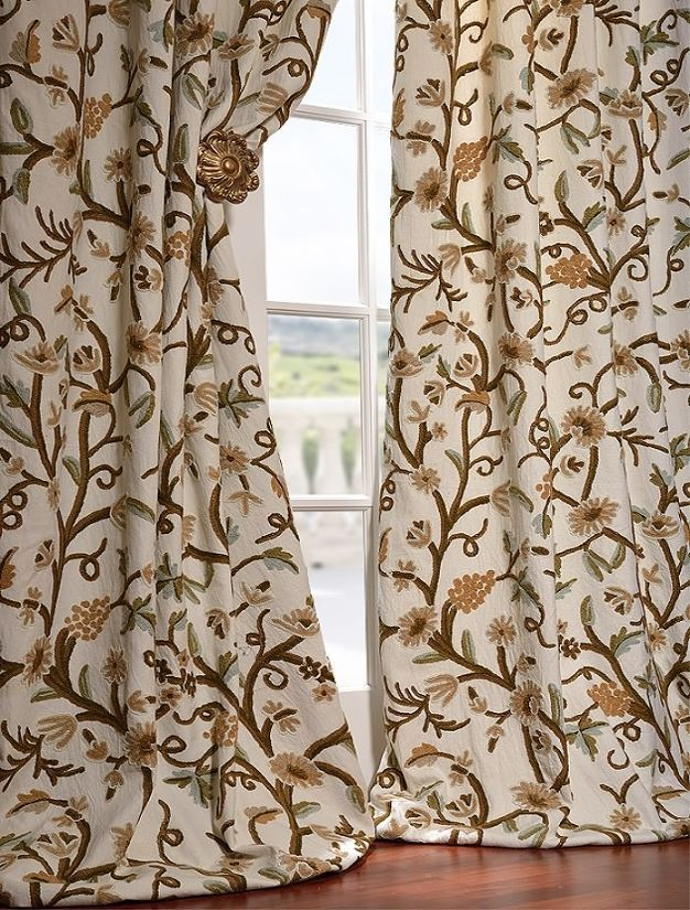 ... Embroidered Cotton Crewel Curtain | Home Decor Catalogs and Des